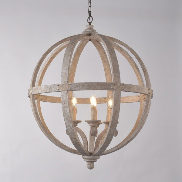 Rustic Style 4-Light Wooden Globe Chandelier Vintage Candle Style Ceiling Light in White Finish