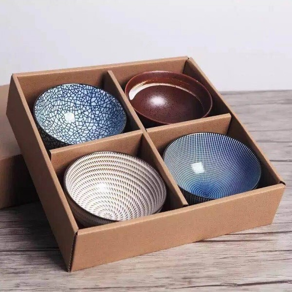 Set of 4 Japanese Traditional Ceramic Dinner Bowls 4.5inch 300ml Porcelain Rice Bowls with Gift Box Dinnerware Set Best Gift