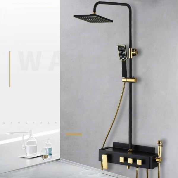 Shower Faucet Brass Black Wall Mounted Bathtub Faucet Rain Shower Head Square Handheld Slide Bar Bathroom Mixer Tap Set JP5036P