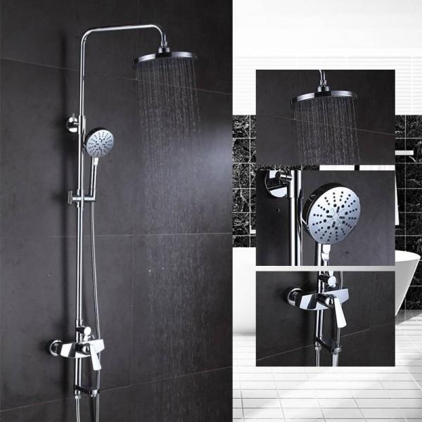 Shower Faucet Brass Chrome Wall Mounted Bathtub Faucet Rain Shower Head Round Handheld Slide Bar Bathroom Mixer Tap Set 877010