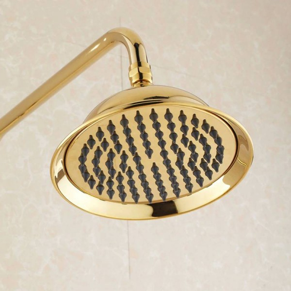 Shower Faucet Luxury Gold Brass Bathtub Faucet Round Rainfall Shower Head Handheld Bar Wall Mount Bathroom Mixer Tap Set HJ3007K