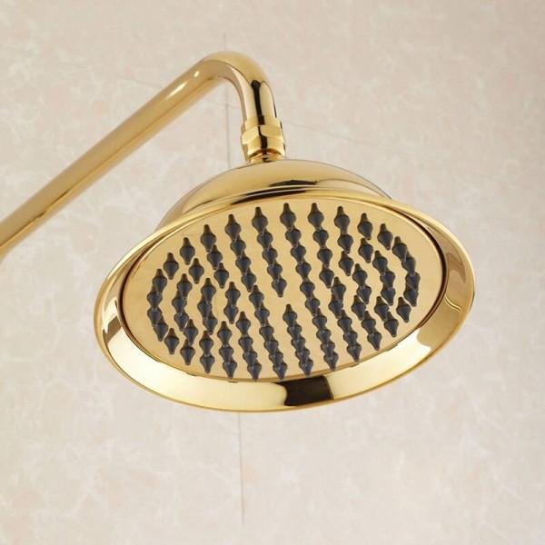 Shower Faucet Wall Mount Brass Luxury Gold Bathtub Faucet Round Rain Shower Head Handheld Bar Bathroom Mixer Tap Set HJ-3009K-A