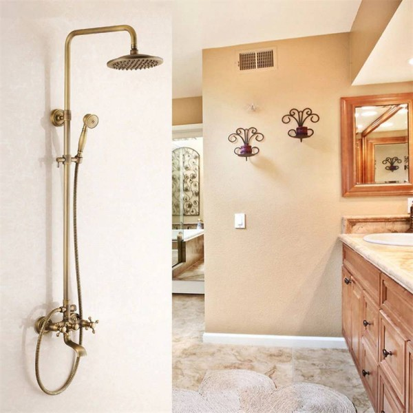 Shower Faucets Antique Brass Shower Set Faucet Tub Mixer Tap Handheld Shower Wall Mounted Rainfall Bath Crane Shower LAD-6821