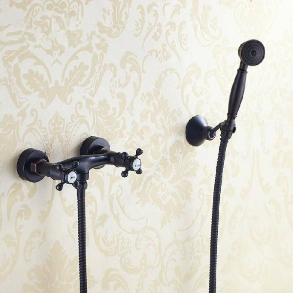 Shower Faucets Black Brass Wall Mounted Rain Bathroom Faucet Round Shower Head Handheld Dual Cross Bathtub Mixer Tap SY-025R