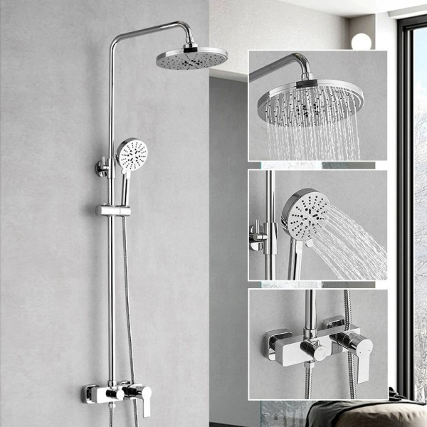 Shower Faucets Brass Chrome Bathtub Faucet Round Tube Single Handle Top Rain Shower With Slide Bar Wall Water Mixer Tap 877007L