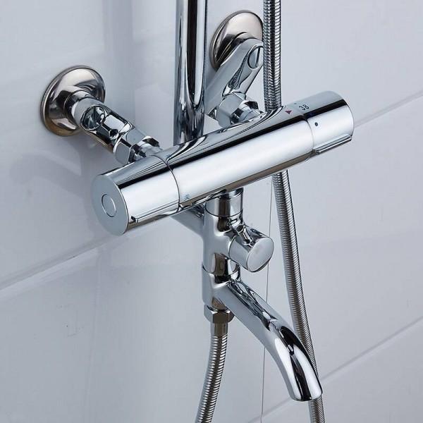 Shower Faucets Brass Chrome Thermostatic Bathroom Wall Bathtub Faucet Rain Shower Head Handheld Square Mixer Tap Sets JM-625L