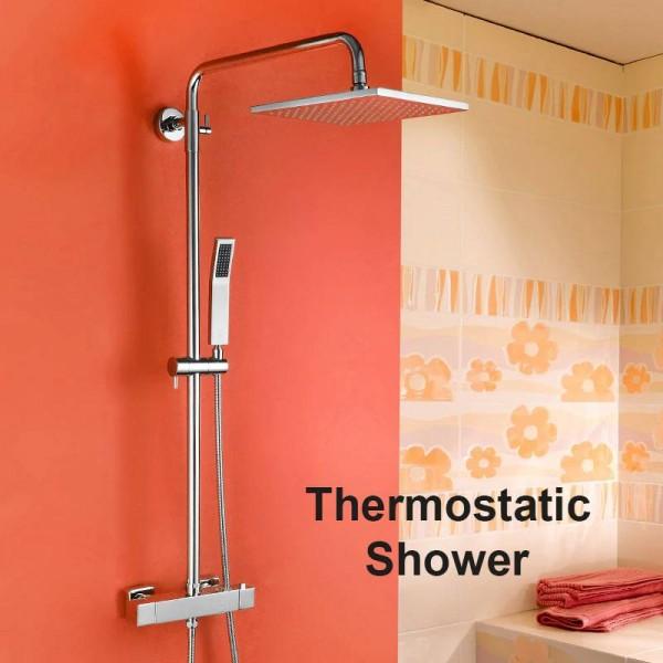 Shower Faucets Brass Chrome Wall Mount Bathroom Thermostatic Rain Shower Head Square Handheld Slide Bar Bath Mixer Tap JM-758L