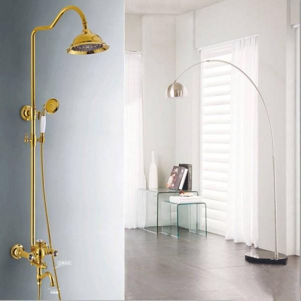 Shower Faucets Brass Luxury Gold Bathtub Faucets Round Rainfall Shower Head Handheld Slide Bar Wall Mount Bath Mixer Tap 5873-A