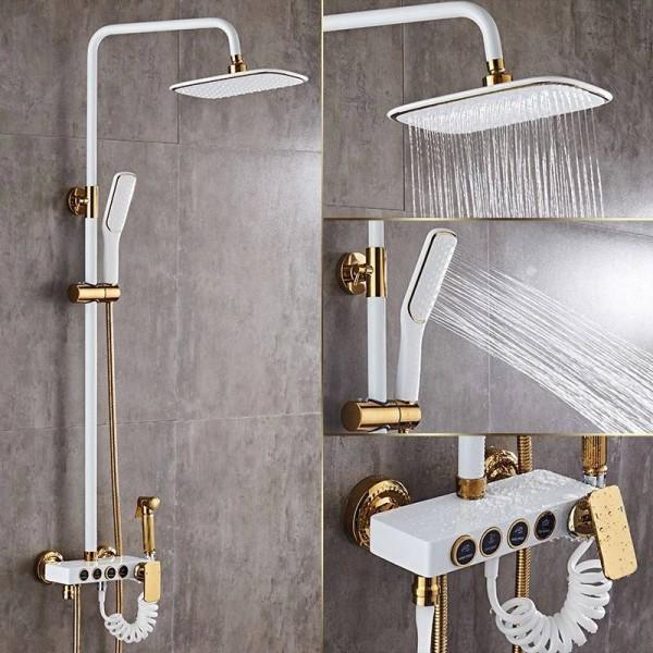 Shower Faucets Brass White Bath Shower Set Wall Mount Bathtub Faucet Set Rain Shower Head Handheld Round Tub Mixer Taps LAD-18088