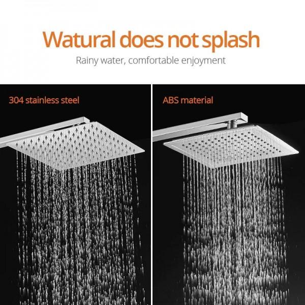 Shower Faucets Chrome Silver Wall Mount Bathroom Faucet Set Rainfall Square Big Shower Head Handheld Valve Bath Mixer Tap 877810