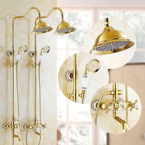 Shower Faucets Luxury Brass Rain Shower Set Dural Handle Wall Mount Gold Bathroom Faucet With Slide Bar Bathtub Faucet LAD-18049