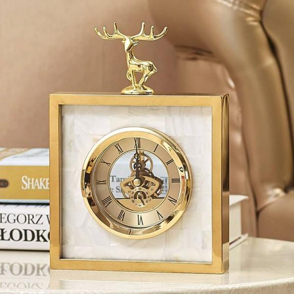 Simple Modern High-end Clock European Living Room Metal Creative Table Clock Shell Deer Clock Pendulum Table New Products