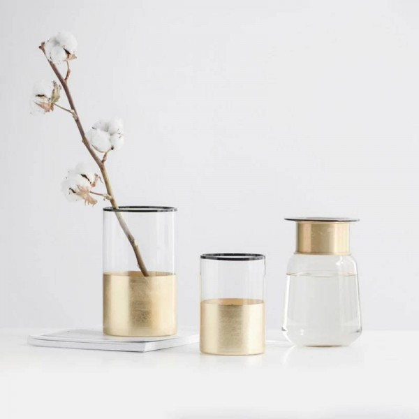 Simple Nordic wind glass vase hand-plated gold flower Home decorative deck stonework hand-painted background