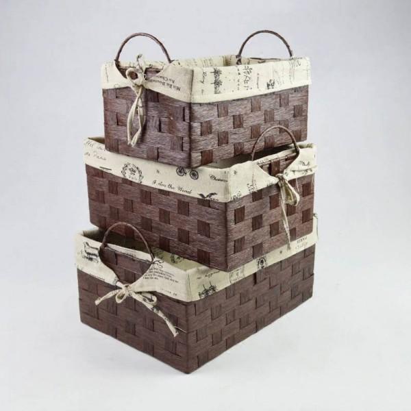 Simple rattan storage box Handmade grass shelf basket Pastoral Creative trumpet desktop underwear debris snack box