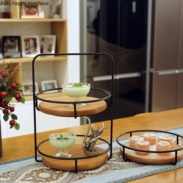 Single layer / double layer Cake Stand Party Wedding Fruit Plate Cake Stand Dessert Storage Rack Desktop wood storage tray