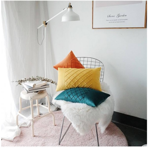Skin-friendly Velvet Cushion Cover Waffle Lattice Decorative Pillows Case Car Covers Almofadas Cojines Sofa Model Room Essential