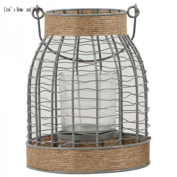 small hurricane metal wire candle holder lantern