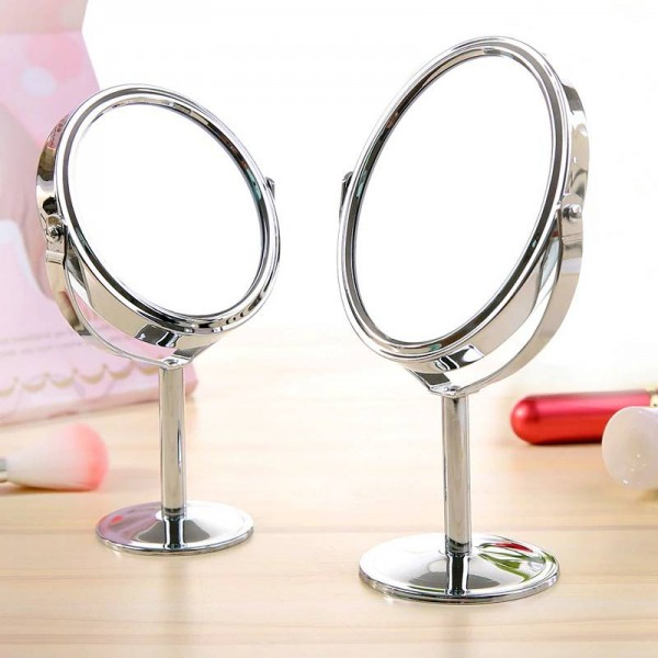 Small Makeup mirror desktop round oval table mirror simple ladies household metal Rotating double-sided vanity mirror mx318094