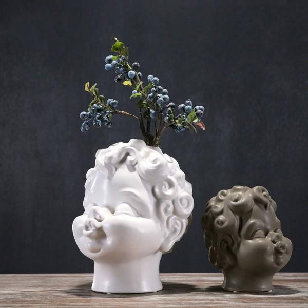Solid Color Ceramic Flower Insert Angel Vase Cute Decoration Sell Cute Flower Desk Desk Bedroom Office Decorations