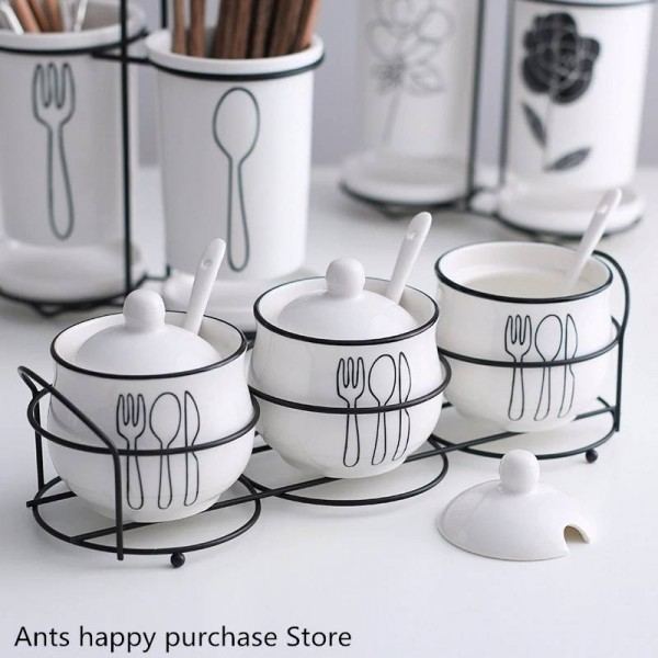 Spice jar creative ceramic seasoning box bottle Spices and pepper spice jars Salt bowl 3piece/set Kitchen supplies