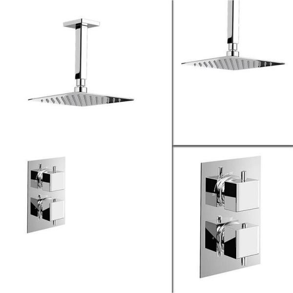 "Square 8"" Ceiling Thermostatic Mixer Shower Ultra Thin Head Chrome Bathroom Valve Shower Set"