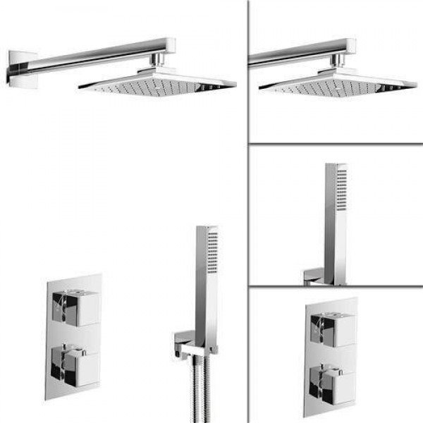 """Square 8"""" Mixer Shower Head Concealed Thermostatic Bathroom Diverter SG2003"""