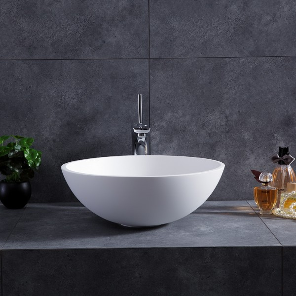 stone resin round bowl shape bathroom vessel sink in matte glossy white with popup drain
