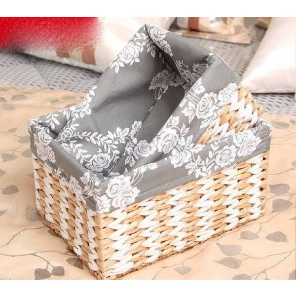 Storage box desktop straw rattan woven storage basket porch coffee table snacks debris storage basket fabric