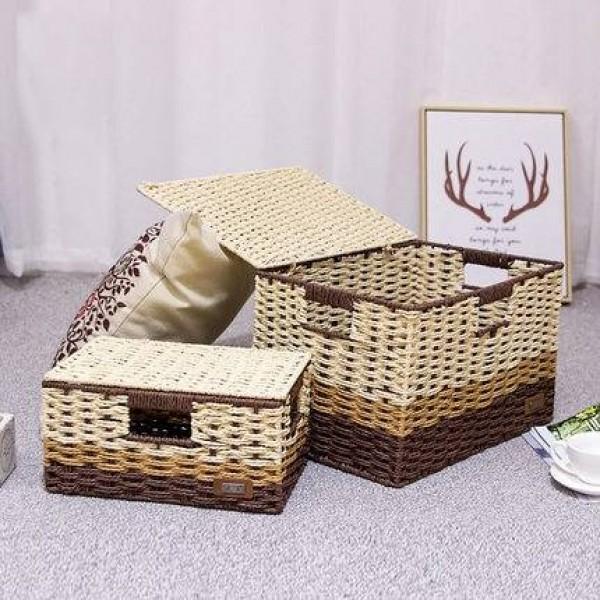 Straw storage box desktop rattan storage box book collection box with lid underwear snack woven basket