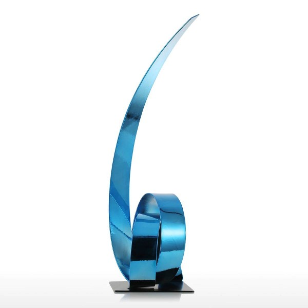 The Blue Rising Ribbon Metal Sculpture Iron Modern Sculpture Abstract Figurines Handicraft Statues for Decoration Ornament