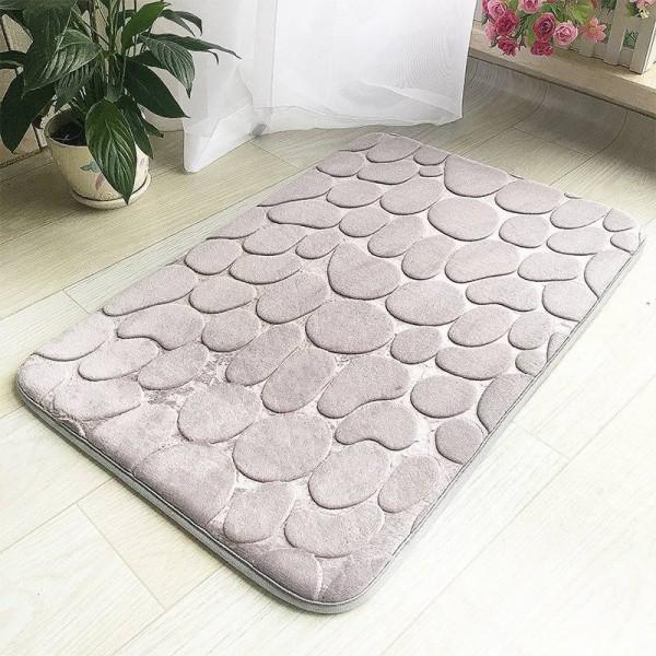 Thickened Floor Mat Grey Door Mat Bathroom Mat Soft Feet Pad for Kithcen Bedroom Doorway Anti Slip Toilet Floor Rug 40x60cm