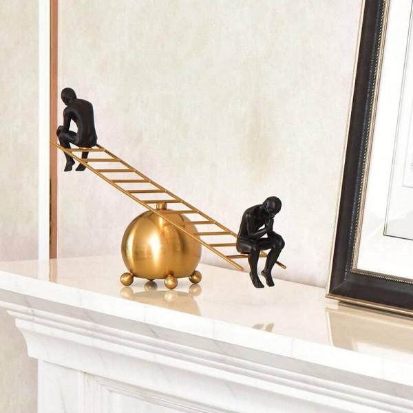 Thinker Modern Simple Seesaw Meditator Brass Alloy Wine Cabinet Decoration Metal Creative American Decoration Gifts