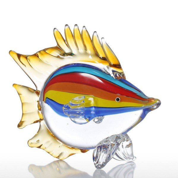 Animal Figurine Tropical Featured Fish Glass Sculpture Home Decor Animal Ornament Gift Craft Decoration New Year Gift