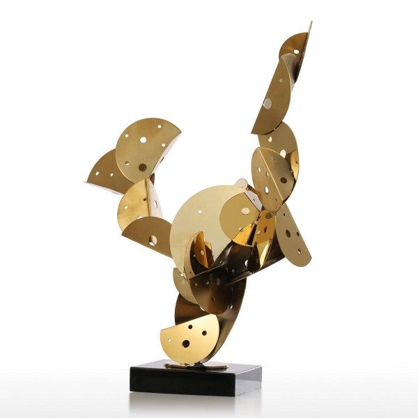 Cactus Sculpture Metal Figurines Stainless Steel Craft Abstract Ornament in Hotel and Club Home Decoration Accessories