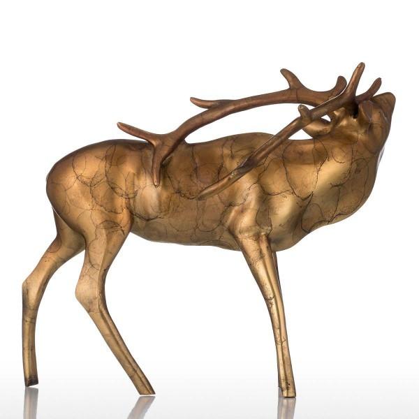 Feng Shui Figurine Golden Copper Buck Bronze Craft Shinny Apperance Animal Buck Sculpture Decor Gift For Home Garden