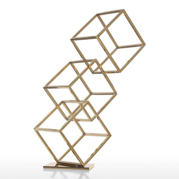 Figurine Cube Abstract Ornament Electroplating Craft Home Decor Modern Style for Office Home Decoration Accessories