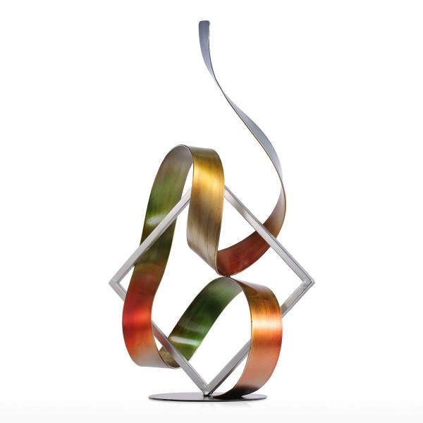Statue Square and Ribbon Modern Sculpture Abstract Sculpture Metal Sculpture Indoor-Outdoor Home Decoration Accessories