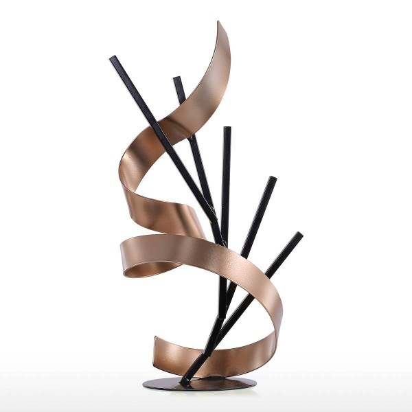 Straight Line and Ribbon Metal Modern Abstract Sculpture Home Decor New Year Gift home accessories Figurine