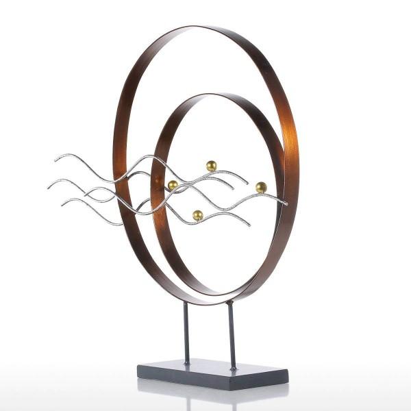 Maple Leaf Ornament Iron Sculpture Abstract Modern Sculpture Iron Circle Home Decor Modern Concise Artwork