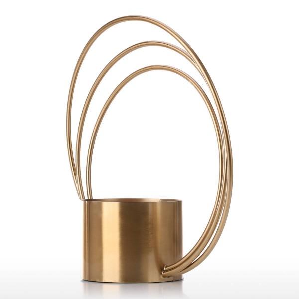 Tooast Flower Pot Metal Ornament Cylinder Shape Handle Vase Fashionable Ornament Centerpiece for Home Wedding Table Decorative