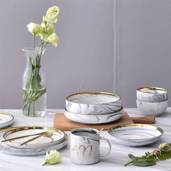 Top Bone Ceramic Bowl Dinner Set Rice Noodles Bowl Phnom Penh Marble Pattern Series Ceramic Bowl Family Soup Bowl Set