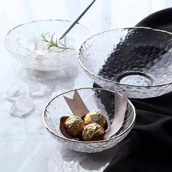 Transparent Phnom Penh Glass Bowl 0.35-1L Fruit Salad Dessert Crystal Bowl European Household Salad Bowl