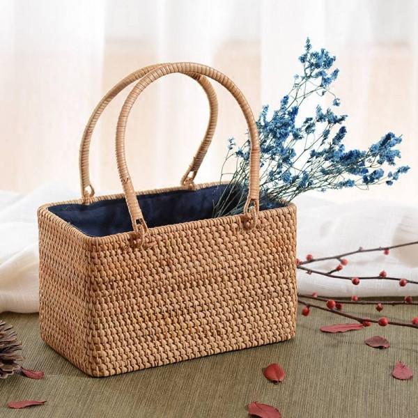 Vietnam rattan storage basket handmade rattan woven tea storage basket desktop storage basket hand