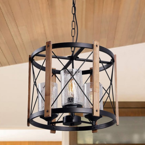 Vintage Farmhouse Drum Chandelier Cylindrical Glass Shade 3-Light Chandelier Metal & Wood Frame