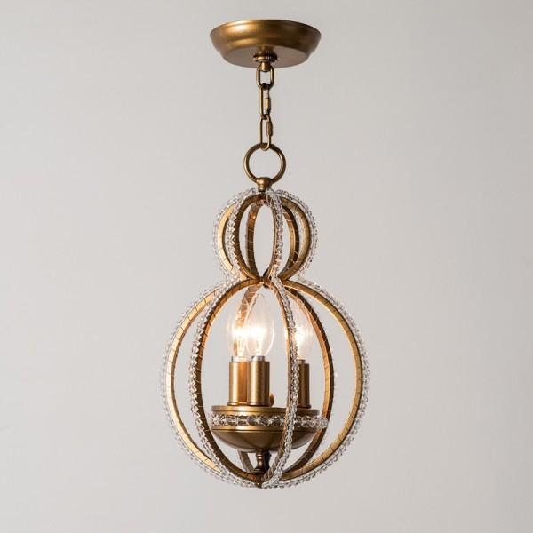 Vintage Retro Crystal Chandelier 3-Light Metal Frame Candle-Style Chandelier in Antique Brass