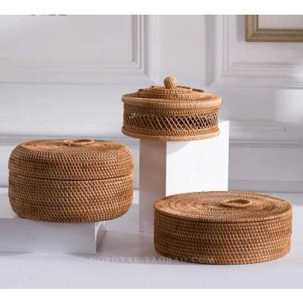 Vintage Solid Wood Rattan Storage Box With Lid Desktop Finishing Box Household Small Round With Lid Hand-woven Rattan Basket