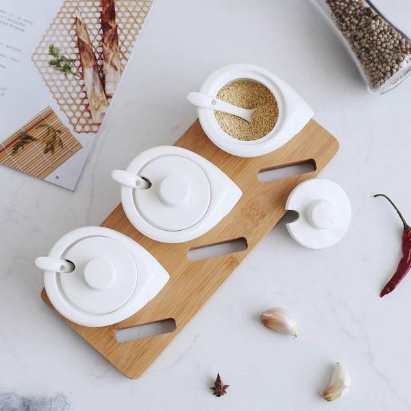 white Bamboo Wood Ceramics Condiment spherical Spice Jars Set Salt Pepper Shakers Seasoning Cooking Kitchen Tool