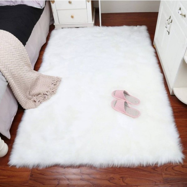 White Faux Sheepskin Rug Faux Fur Blanket Faux Fur Blanket Decorative Blankets For Bed Floor Rugs and Carpets For Living Room