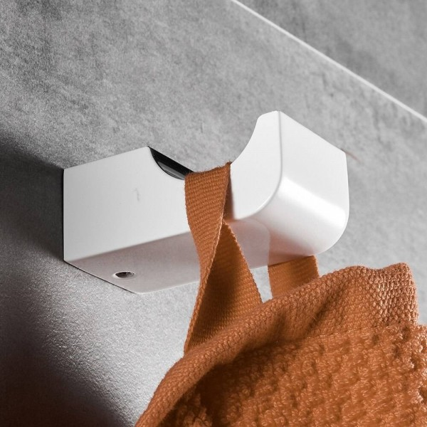 White Robe Hook Coat Hooks Wall Mounted Robe Hooks For Bathroom Kitchen Cloth Hook Bathroom Accessories Fitting FM-5782WL