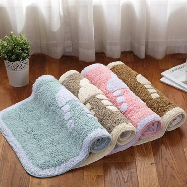 Winter thick warm bathroom living room floor mat door mat home bedroom cotton carpet bathroom absorbent non-slip mat